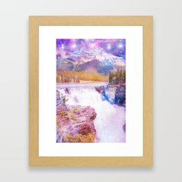 Waterfall and Mountain Framed Art Print