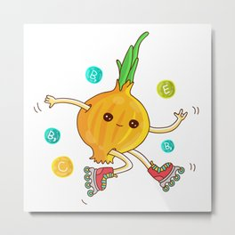Skipping Onion Metal Print