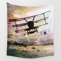 plane Wall Tapestries featuring Plane Brigade by Artist Ash