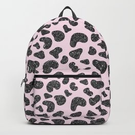 Girly pastel pink hipster black glitter animal print Backpack