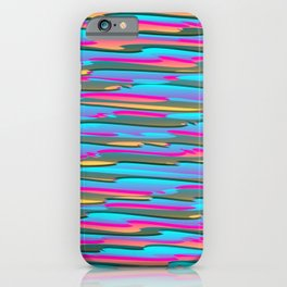 Horizontal vivid curved stripes with imitation of the bark of a light blue tree trunk. iPhone Case