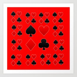 RED & BLACK PLAYING CARD ART ON RED Art Print