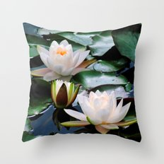 White Waterlilies Throw Pillow