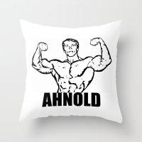 arnold Throw Pillows featuring Arnold Schwarzenegger  |  AHNOLD by Silvio Ledbetter