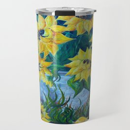 Sunflowers in a Country Pot Travel Mug