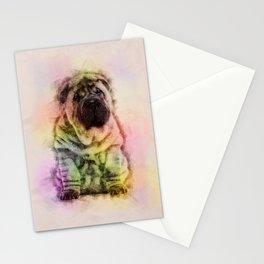 Shar-Pei puppy Sketch Digital Art Stationery Cards