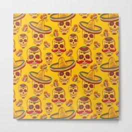 Mexican Sugar Skulls in Gold Metal Print