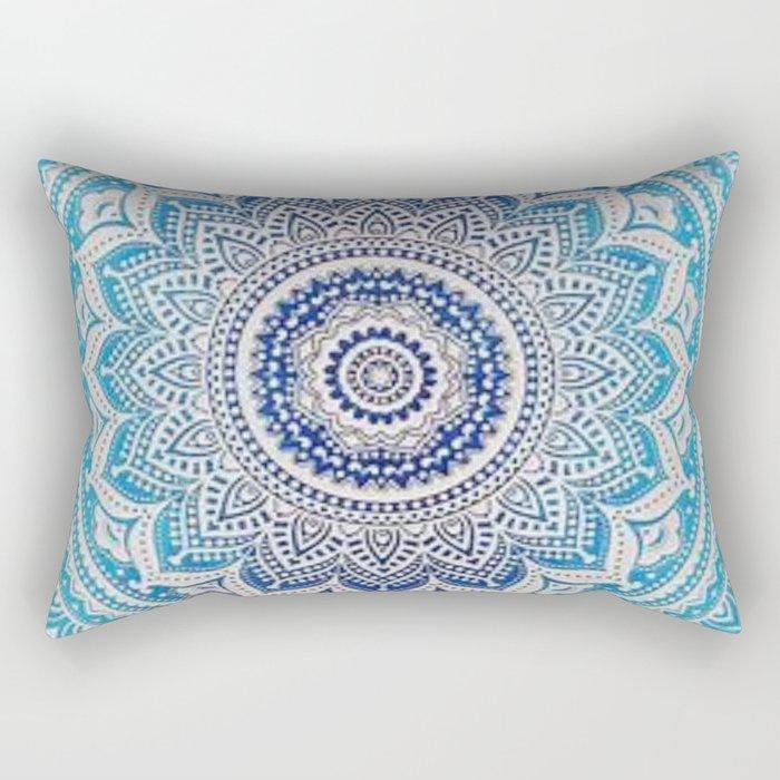 Teal And Aqua Lace Mandala Rectangular Pillow