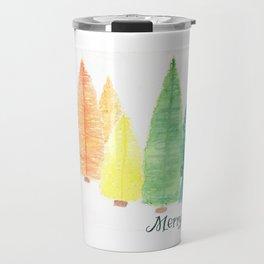 Watercolor Bottle Brush Trees Travel Mug