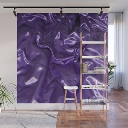 Closeup Of Rippled Purple Satin Fabric Wall Mural