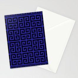 Greek Key (Navy Blue & Black Pattern) Stationery Cards