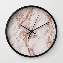 Abstract blush gray rose gold glitter marble Wall Clock