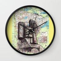 minnesota Wall Clocks featuring Minnesota by Ursula Rodgers