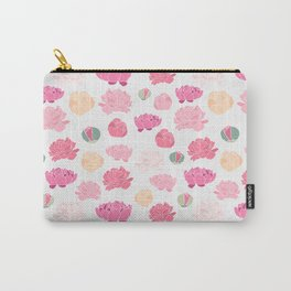 Mauve pink green orange hand painted peonies Carry-All Pouch