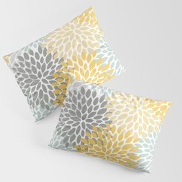 Floral Pattern, Yellow, Pale, Aqua and Gray Pillow Sham