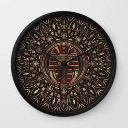King Tutankhamun mask in circular ornament Wall Clock