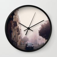 brussels Wall Clocks featuring MISTY BRUSSELS by Louisa Rogers