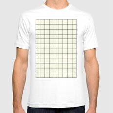 simple grid Mens Fitted Tee MEDIUM White