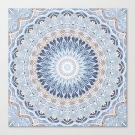 Serenity Mandala in Blue, Ivory and White on Textured Background Canvas Print