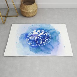 Blue Abstract Watercolor Seashell Rubber Stamp on White 4 Minimalist Coastal Art Rug
