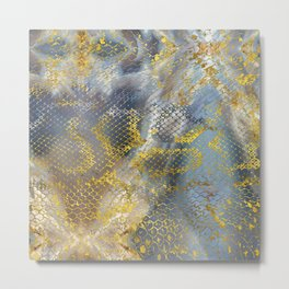 Faux gold snake skin texture on  marble Metal Print