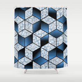 Abstract Blue Cubic Effect Design Shower Curtain