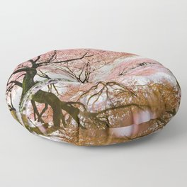 reflective cherry blossoms trees pink petals of flowers Floor Pillow