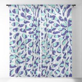 Organic Petals Pattern Navy Blue Turquoise Sheer Curtain