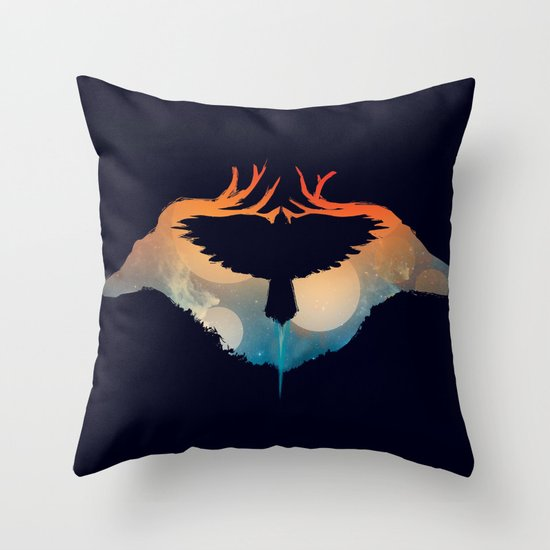 Night sky over savanna Throw Pillow