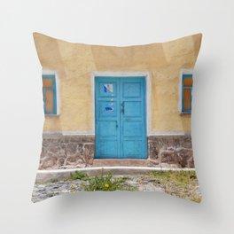 Bolivia door 7 blue on yellow Throw Pillow