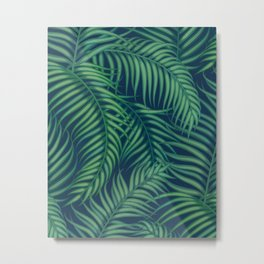 Night tropical palm leaves Metal Print