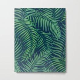 Night tropical palm leaves Metal Print