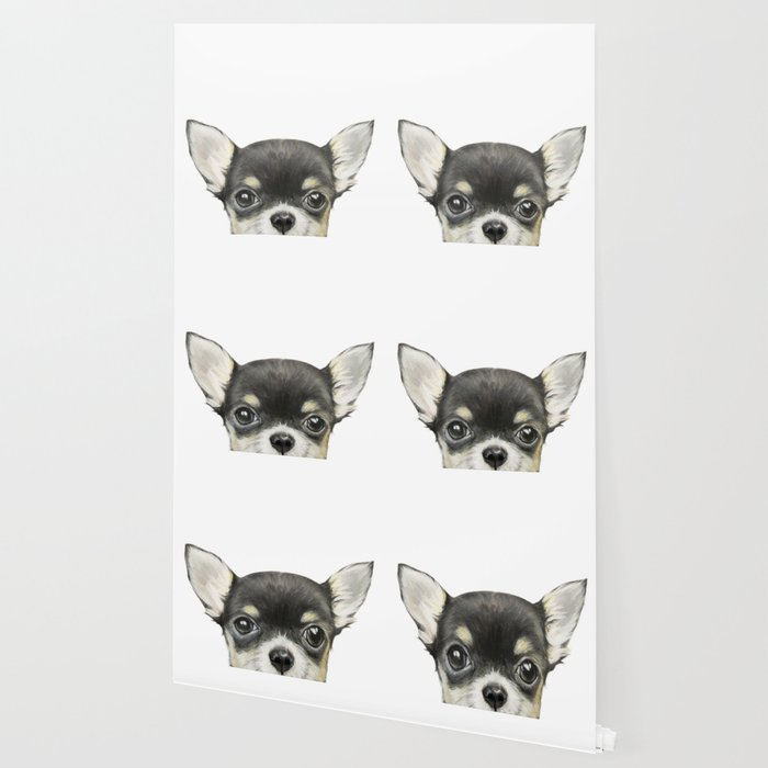 Chihuahua mix color Dog illustration original painting print Wallpaper
