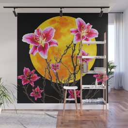 EXOTIC FUCHSIA STAR GAZER PINK LILIES MOON ART Wall Mural