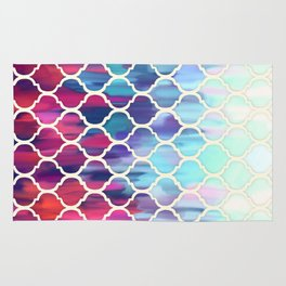 Moroccan Meltdown - pink, purple & aqua painted tiles Rug