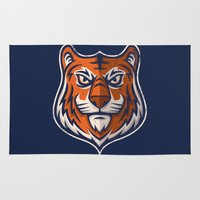shield Area & Throw Rugs featuring Tiger Shield by WanderingBert / David Creighton-Pester
