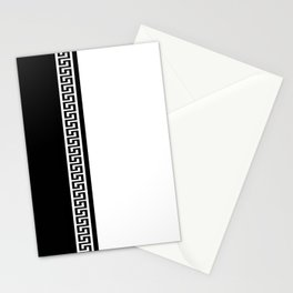 Greek Key 2 - White and Black Stationery Cards