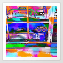 blue classic taxi car with painting abstract in green pink orange  blue Art Print