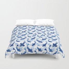 Koi Fish Dance / blue watercolor Duvet Cover