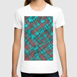 Bright metal mesh with light blue intersecting diagonal lines. T-shirt