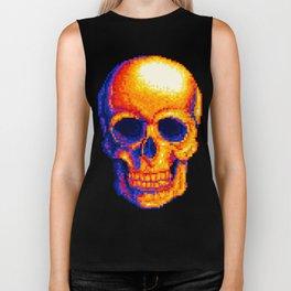 Neon Skull Pixel Art Biker Tank
