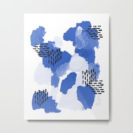 Painted blue abstract monochromatic minimal modern art painting dorm college gender neutral design Metal Print