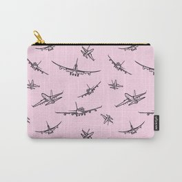 Airplanes on Light Pink Carry-All Pouch