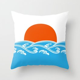 Japanese Tsunami  Throw Pillow