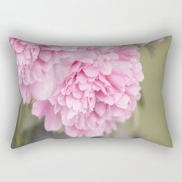 Pink Peonies On A Green And Grey Background #society6 #buyart Rectangular Pillow