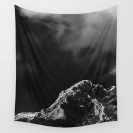 Black and white sun illuminated mountain Wall Tapestry