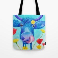 Cute Blue Cow Tote Bag