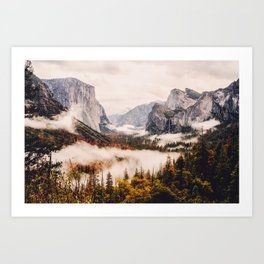 Amazing Yosemite California Forest Waterfall Canyon Art Print
