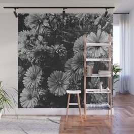 FLOWERS - FLORAL - BLACK AND WHITE Wall Mural
