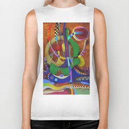 Painting abstract climbing in the mountains Biker Tank